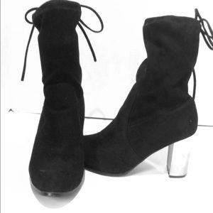 Catherine Malandrino Vegan suede tie up booties